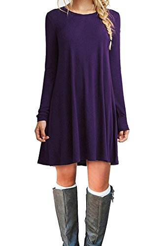 Women's Winter Fall Basic Long Sleeve Casual Loose Dress