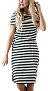 Women's Classic Striped Pineapple Print Short Sleeve Pocket Casual Midi Dresses by NENONA