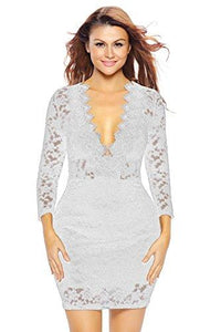 Women's Hollow Out Lace V Neck Clubwear Mini Dress by Roswear, Color - White