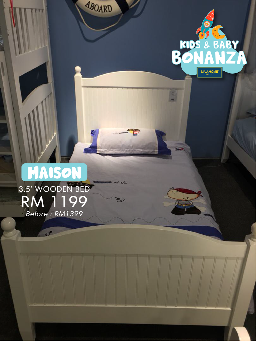 MAISON 3.5' Wooden Bed