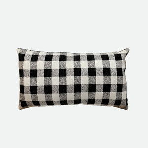 Designer Pillow (Long pillow) Black gingham