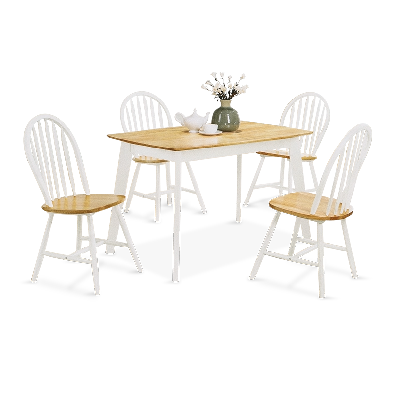SOLID Wood Dining Set (1T+4C)