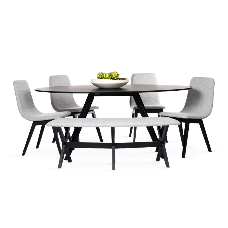 CAROL Dining Set (1T + 4C + Bench)