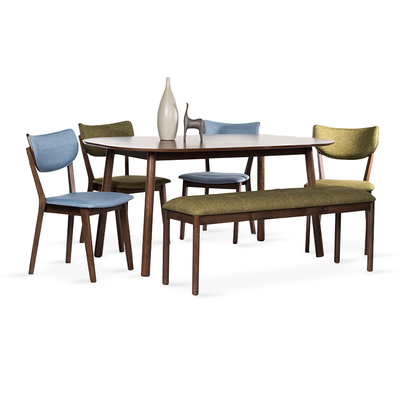 EAMON Dining Set (1T + 4C + Bench)