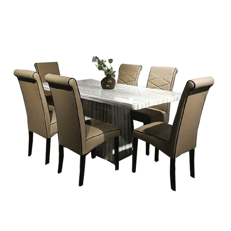 WINSOR Marble Dining Set (1T + 6C)