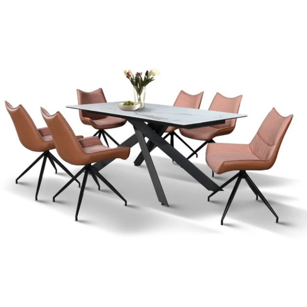 LINDELL Ceramic Dining Set (1T + 6C)