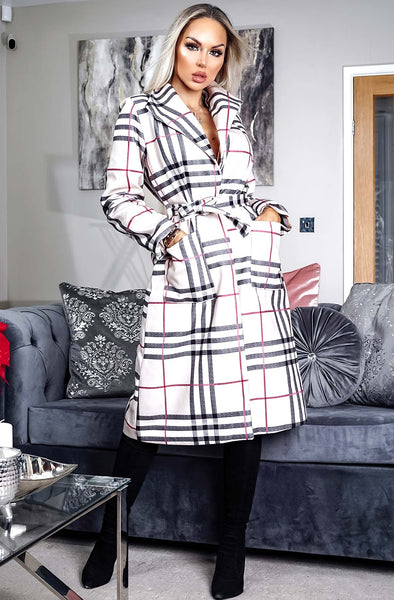 Alicia check belted longline coat, trench coat