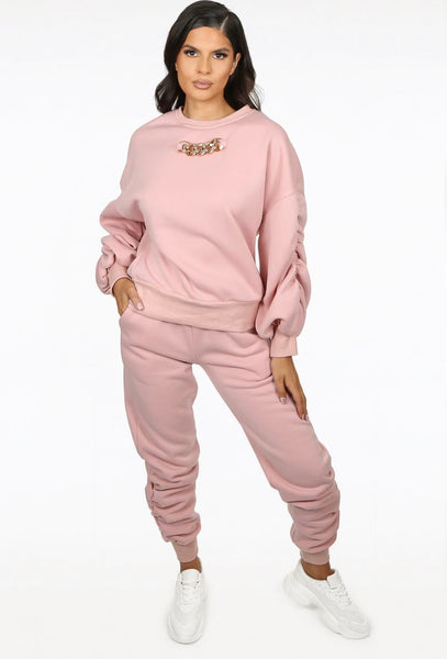 Chain detail ruched sweatshirt  and joggers set - rose pink