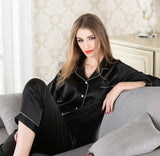 Sienna satin long trousers luxe pyjamas - 2 colours black, wine