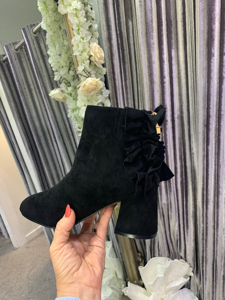 Ruffle back block heel ankle boots
