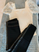 Black high waist luxury trousers with faux leather & stud  side stripe embellishment