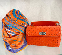 Silk blend bright scarf - orange, royal rope  print