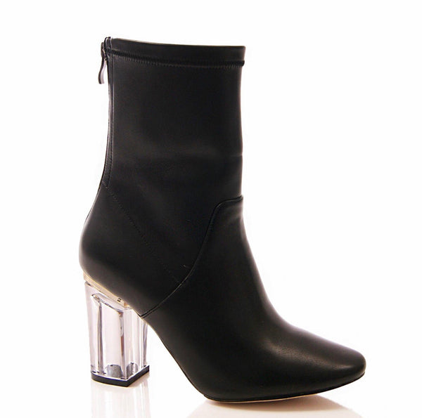 Leather look sock boots with Perspex heels