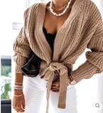 Ballerina chunky knitted  crossover side tie cardigan - one size - 6 colours