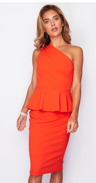 Dayna one shoulder peplum midi dress - orange