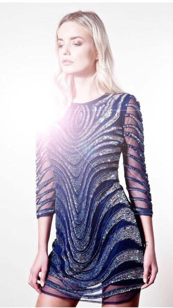 Rianne Navy sequin long sleeve party dress