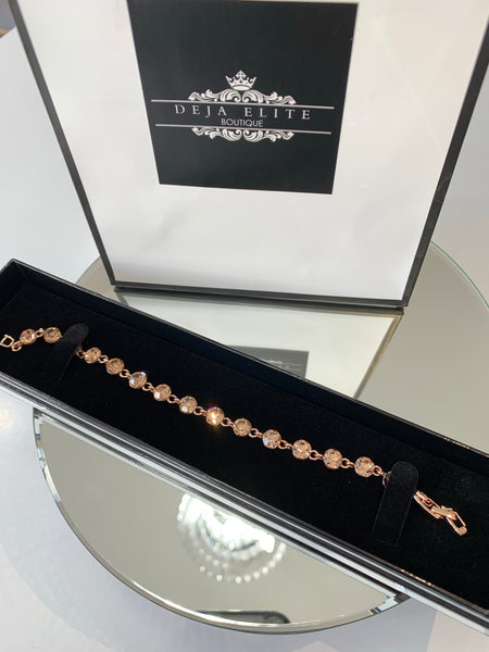 5 mm Swarovski Rose gold Crystal elements tennis bracelet