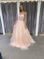 Brittany blush pink full ballgown prom dress