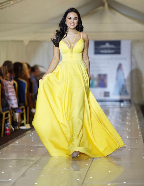 Sunny yellow strappy ballgown, prom dress