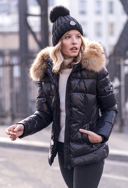 Fur parka with natural fur hood - wet look - Black