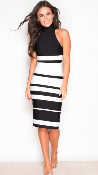 Alisa Black & White high neck bandage dress