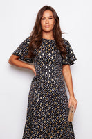 Angel wing sleeve gold and spot split dress