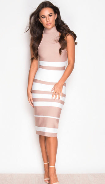 Alisa nude & White high neck bandage dress