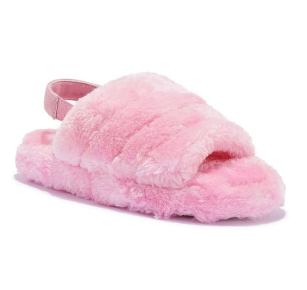 Sloane sling back faux fur slippers - pink