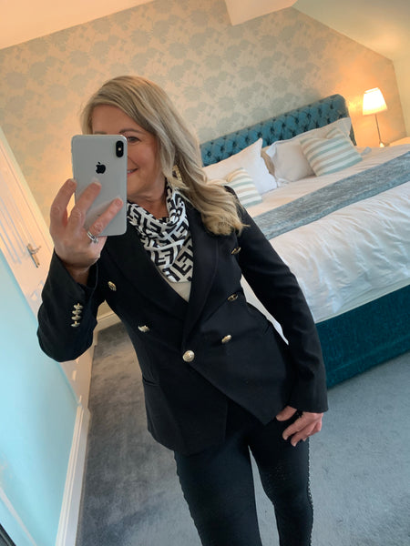 Dayna double breasted gold button blazer