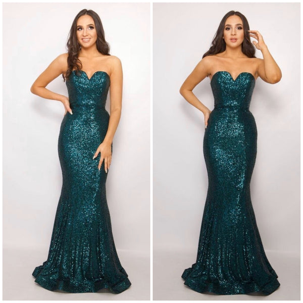 Pia Michi 11326 sequin sweetheart neckline gown 5 colours