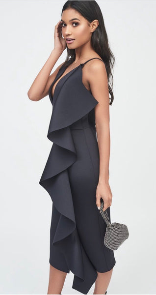 Asymmetric draped frill scuba dress - black