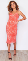 Candy Coral lace & nude midi dress
