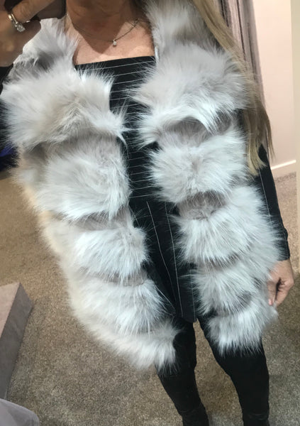 Faux shaggy luxury fur gilet -  light grey