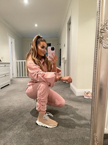 Ruched sleeve hoodie and joggers set - rose pink