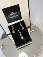 Three's a charm drop earrings, pendant Swarovski elements jewellery set - rose gold