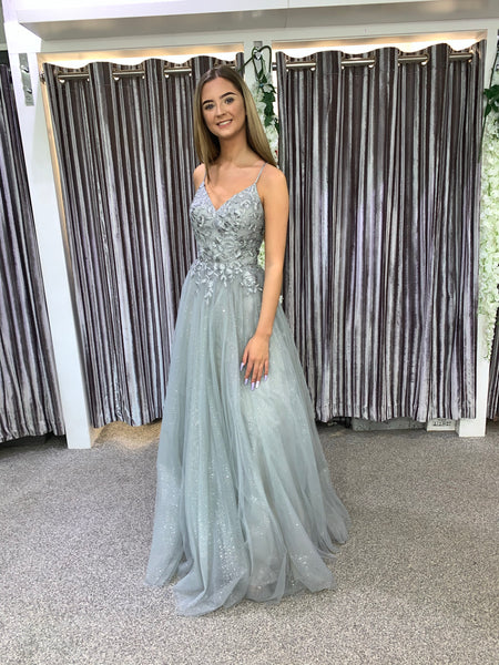 Fearne Silver sparkle prom dress, ballgown, bridesmaid dress