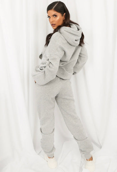 Ruched sleeve hoodie and joggers set - grey