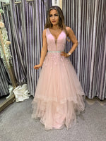 Sofia flutter skirt prom dress, bridesmaid dress 3 colours - dusky pink, silver, navy