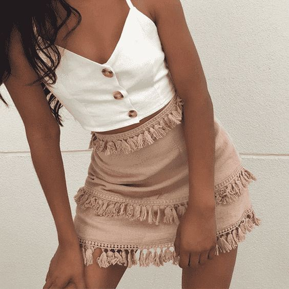 Summer Mini Tassel Skirt