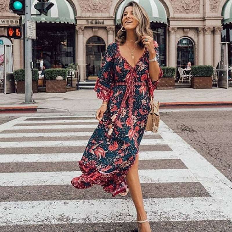 Floral Print Maxi Dress - mookyboutique