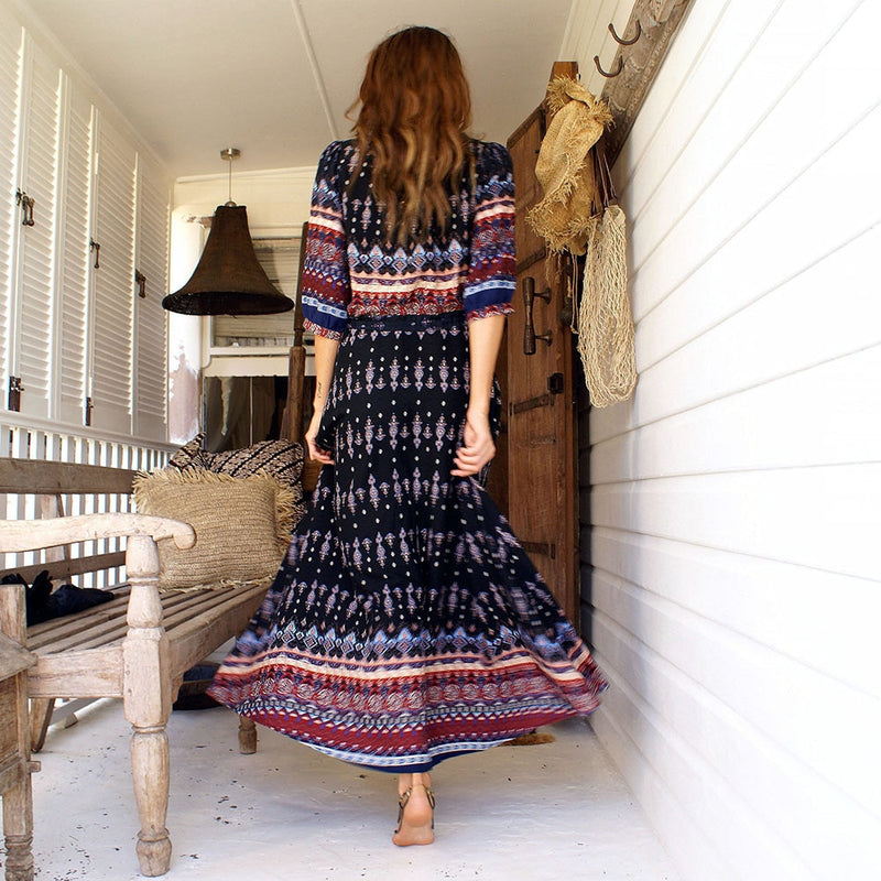 Bohemian Style Elegant Print Long Dress - mookyboutique