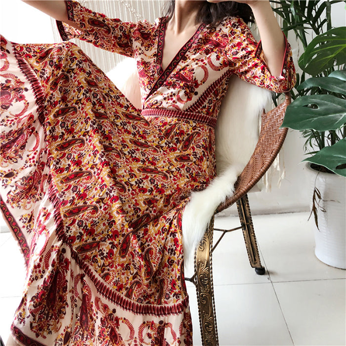 Flower Print Boho Style Rayon Dress - mookyboutique