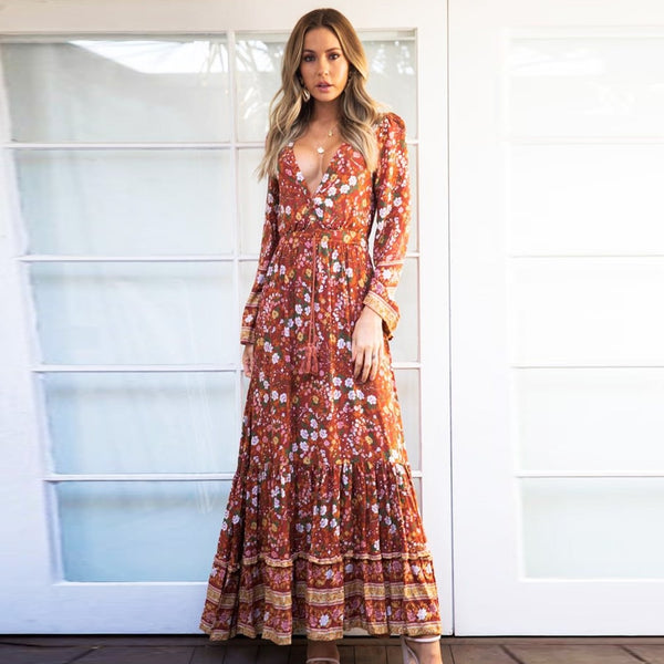 Floral Print Fall Maxi Dress - mookyboutique