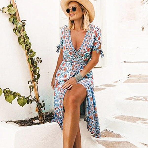 Floral Print Bohemian Wrap Rayon Dress - mookyboutique