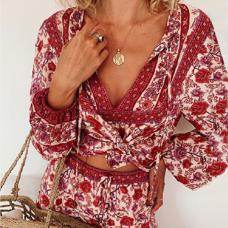 Long Sleeve Deep V Neck Boho Blouse - mookyboutique