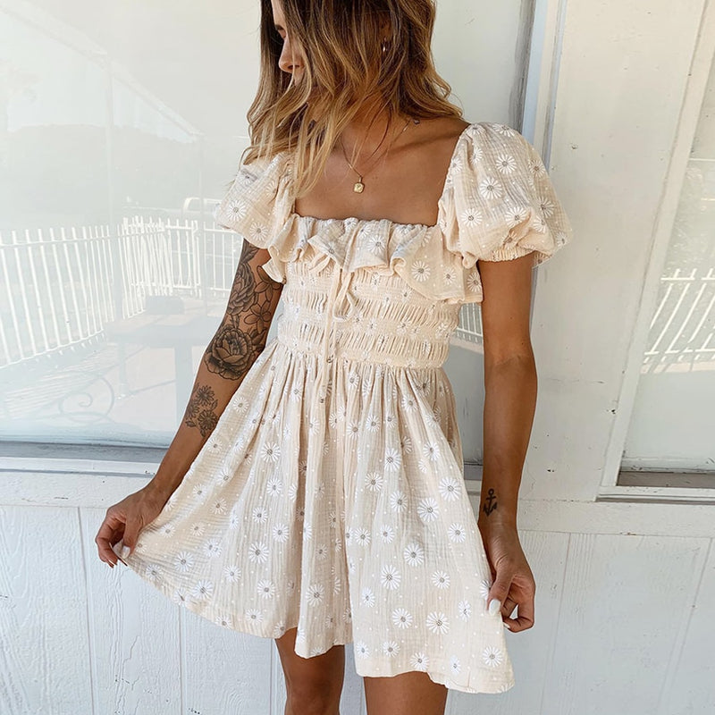 Puff Sleeve Mini Cotton Dress - mookyboutique