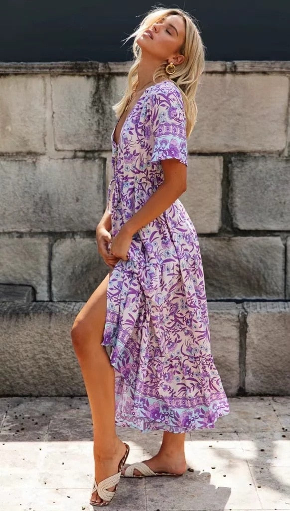 Floral Print Purple Maxi Holiday Dress - mookyboutique