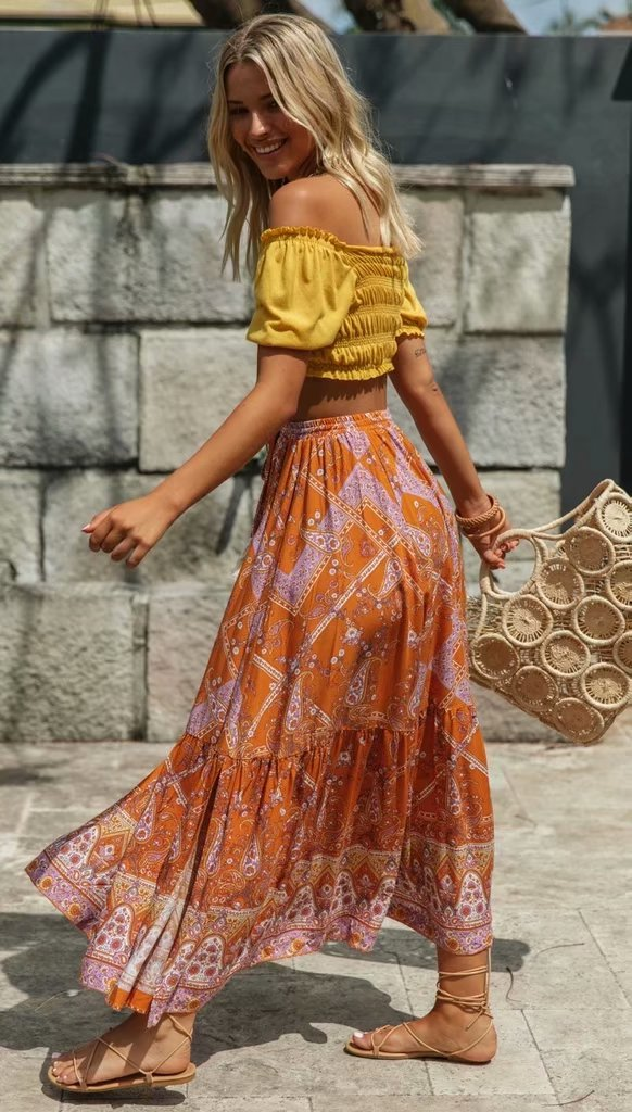 Orange Boho Style Vintage Skirt - mookyboutique