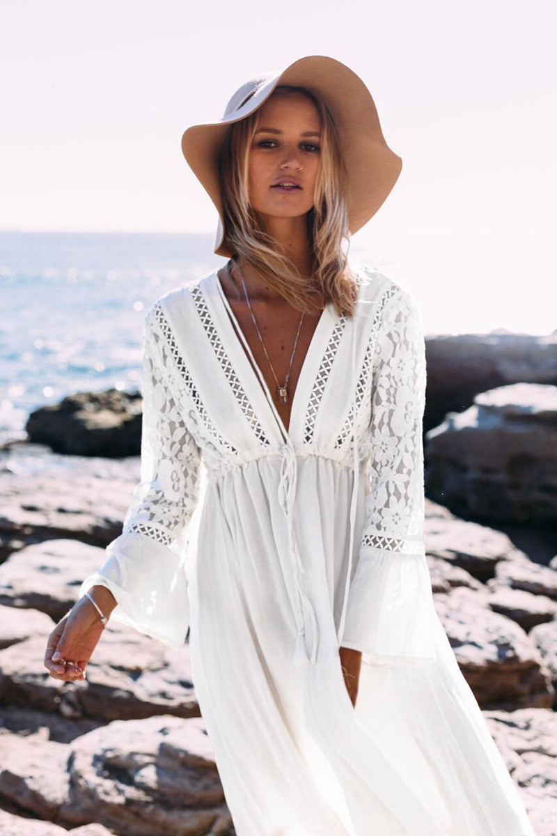 Boho Chic Lace Deep V Maxi Dress - mookyboutique