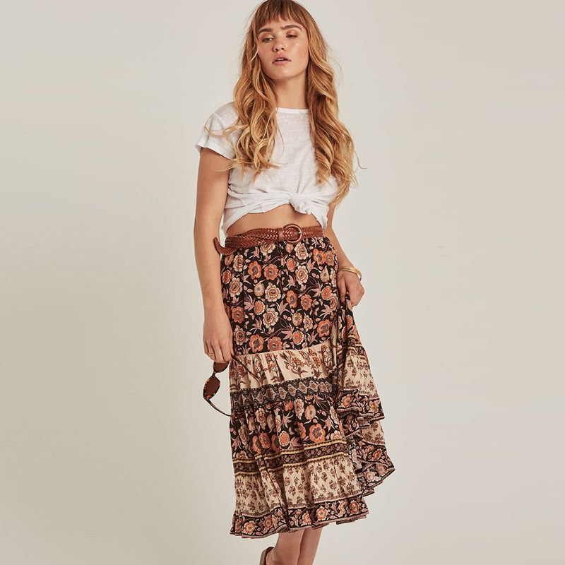 Floral Print Rayon Boho Skirt - mookyboutique